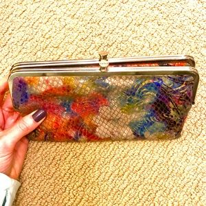 HOBO snakeskin clutch wallet, multicolored floral